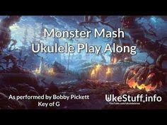 Monster Mash Ukulele Play Along Halloween Music, Ukulele Chords, Monster Mash, October, Songs, Lettering, Play, Education, Videos