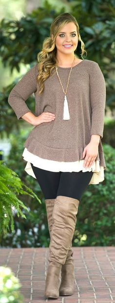 Pumpkin Spice Top - Taupe - Perfectly Priscilla Boutique big size fashion http://amzn.to/2kRZpiY