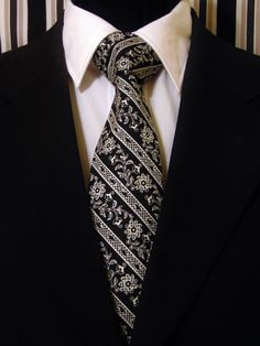 Black Floral Tie, Black Stripe Tie, Mens Necktie, Mens Tie, Floral Necktie, Stripe Necktie, Black Necktie, Black Tie, White Necktie, Father by EdsNeckties on Etsy