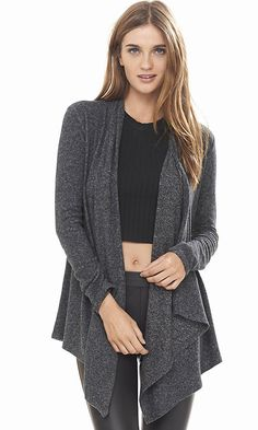 Charcoal Express One Eleven Plush Jersey Cover-up from EXPRESS