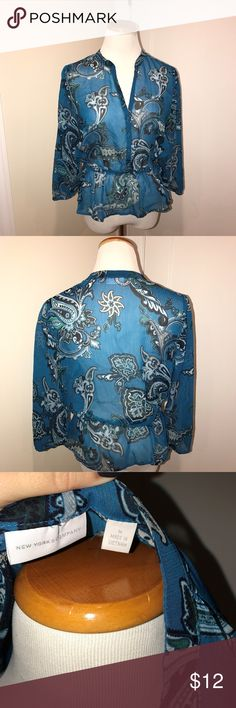 new york and company sheer blouse new never worn, no tags, blouse is sheer with 3/4 sleeve and an elastic waist. sleeves also have a band of elastic on them. New York & Company Tops Blouses
