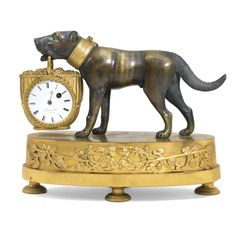 An Empire ormolu and patinated bronze mantel timepiece, French, circa 1810 1¼-inch enamel dial signed Breguet A Paris, similarly signed fusee watch movement with verge and balance wheel  escapement, mounted within a grape-gathering basket held in mouth of a dog, the oval base with grapevine mount and milled feet