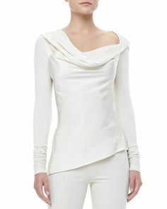 Asymmetric-Neck Combo Top by Donna Karan at Bergdorf Goodman. #top #blouse