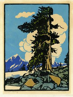 Winged Victory by William Seltzer Rice, color woodcut, 1916