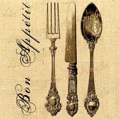 Paris digital image Printable Bon appetit Knife spoon fork Vintage ephemera For iron transfer fabric napkins tea towel handbag pillow Digital Collage