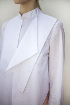 White shirt reinvented with geometric panel; innovative pattern cutting; origami fashion design detail // Sofija Urumovic