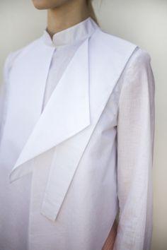 White shirt reinvented with geometric panel; innovative pattern cutting; origami fashion design detail // Sofija Urumovic