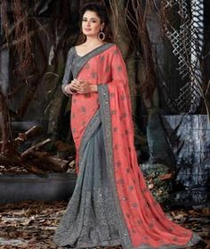 Gray Crepe Chiffon Half and Half Saree 76455 New Indian Dresses, Indian Outfits, Indian Clothes, Ethnic Design, Half Saree, Indian Ethnic Wear, Designer Sarees, Blouse Online, Indian Fashion