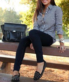 skinny black pants - gingham shirt - black loafers