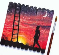 Sunset is the proof that endings can be beautiful. I did this painting on ice cream sticks. It was inspired by a photo of Comment your opinion about this painting. Popsicle Stick Art, Pop Stick, Popsicle Stick Crafts, Craft Stick Crafts, Craft Ideas, Ideias Diy, Creative Artwork, Popsicles, Belle Photo
