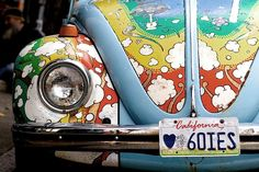 Photo of 1968 flower power haight ashbury volkswagen bug, San Francisco, Photo, Leica, Street, USA    COOL!