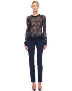 Michael Kors Cashmere Paillette Sweater & Samantha Slim Pants. @Michael Kors