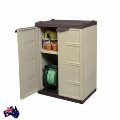 Cupboard w/ Key Waterproof Outdoor Garden Veranda Shelf Storage Tool Hose New