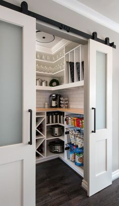 Barn Door Walk-in Pantry, Transitional Kitchen Remodel - Transitional - Kitchen . Barn Door Walk-in Pantry, Transitional Kitchen Remodel - Transitional - Kitchen - Detroit - by MainStreet Design Build, Kitchen Pantry Design, Home Decor Kitchen, Home Kitchens, Kitchen Pantry Doors, Kitchen Appliance Storage, Organized Kitchen, Kitchen Ideas, Corner Kitchen Pantry, Kitchen Layout Plans