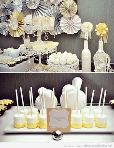 Mesa de postres, decoración de boda en interior, estilo romántico