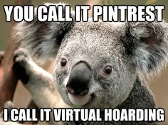 you call it pintrest i call it virtual hoarding - koalla (I mispelled pinterest - sorry)