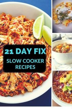 6 Healthy 21 Day Fix Slow Cooker Meals!! Plus, a meal plan to follow! THE BEST 21 Day Fix recipes for your CrockPot!!