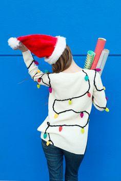 DIY Christmas Lights Sweater - Studio DIY - Gifts and Costume Ideas for 2020 , Christmas Celebration Diy Ugly Christmas Sweater, Diy Christmas Lights, Ugly Sweater Party, Christmas Night, Christmas Outfits, Christmas Ideas, Christmas Decorations, Xmas Jumpers, Christmas Light Installation