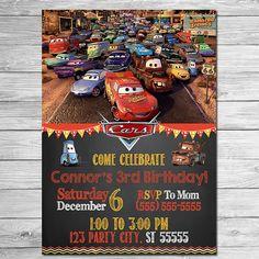 Disney Cars Invitation Chalkboard  Lightning by ItsACowsOpinion