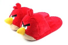 Perfect to throw at someone: Unisex plush slippers featuring the Red bird from Angry Birds