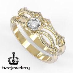 1 Ct Solitaire Diamond Engagement Ring Wedding Band Bridal Set 14K Yellow Gold #tvsjewelery