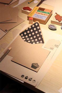 Beautifully stamped Kraftpaper envies