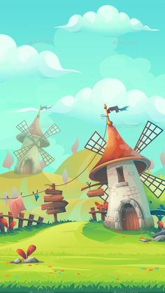 Cartoon stylized vector illustration on the theme of the European landscape with a windmill mobile format. For print, create videos or web graphic design, user interface, card, poster. Windmill Drawing, Windmill Wall Decor, Windmill Decor, Landscape Illustration, Children's Book Illustration, Landscape Art, Game Background, Cartoon Background, Vector Background
