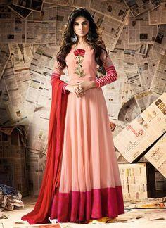 d6b0253ba9a0 Pink and lite pink combined long kurti type anarkoli dress 2018 new trend  wearhut jennifer winget dress - Wear Hut BD