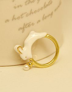 Gold Glaze Rabbit Ring $15 ringDS0116