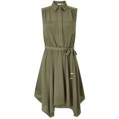 Miss Selfridge PETITE Hanky Hem Shirt Dress (€52) ❤ liked on Polyvore featuring dresses, khaki, petite, green color dress, miss selfridge, green dress, day to night dresses and green shirt dress