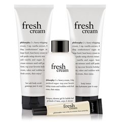 The ultimate fresh cream gift set. One of my faves. Philosophy Fresh Cream, Beauty Regimen, Heavy Whipping Cream, Cream Cream, Whipped Cream, Body Lotion, Beauty Hacks, Beauty Tips, Health And Beauty