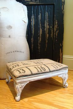 Antique FRENCH Footstool Burlap Grain Sack by edithandevelyn, $85.00