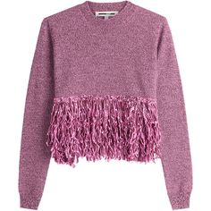 McQ Alexander McQueen Wool Pullover (1.075 RON) ❤ liked on Polyvore featuring tops, sweaters, alexander mcqueen, purple, long sleeve tops, round neck sweater, wool pullover sweater, long sleeve sweater and fringe tops