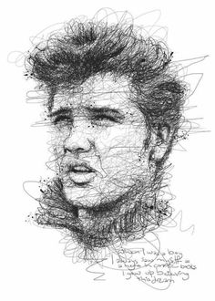 Elvis Presley by Malaysia artist Vince Low Portrait Sketches, Pencil Portrait, Drawing Sketches, Art Drawings, Sketching, Art Du Monde, Scribble Art, Portraits From Photos, Wow Art