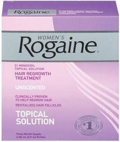 Rogaine for Women Hair Regrowth Treatment (2-Ounce Bottles, Pack of 3): Unscented. 2% minoxidil is clinically proven to increase the amount of hair. Increases thickness. Suitable for use on scalp & eyebrows.