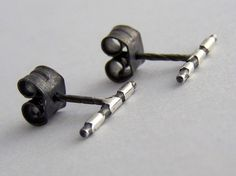 Tiny Silver Stud Earrings Oxidised and Etched with Organic Striped Pattern