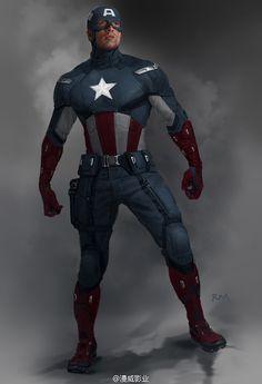 Ryan Meinerding concept art for Captain America in The Avengers