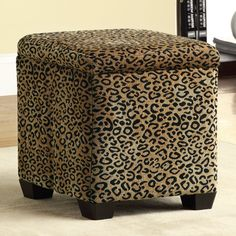 Have to have it. Leopard Fabric Storage Ottoman $68.99