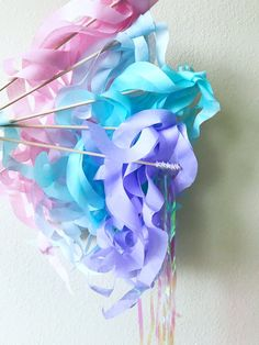Pastel Paper Wand Streamers Pastel Paper, Blowing Bubbles, Mermaid Parties, 4th Birthday Parties, Great Photos, Streamers, Tissue Paper, Wands, Iridescent