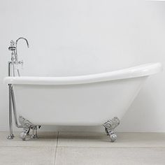 """HLSL59FPK 59"""" long Single Slipper CoreAcryl Clawfoot Tub with Chrome Feet, Faucet, Supply Lines and Drain >>> Want to know more, click on the image."""