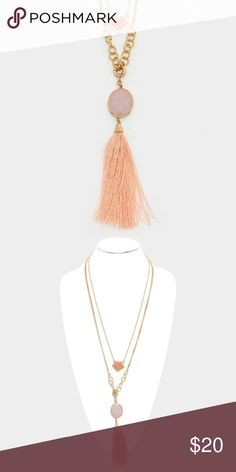 "Triple Layer Tassel Necklace • Theme : Tassel  • Necklace Size : 26"" + 3"" L • Decor Size : 9"" L • Triple Layer Thread Tassel & Semi Precious Stone Drop Long Necklace Jewelry Necklaces"