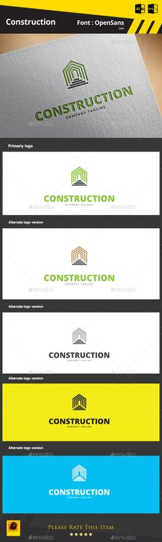 Construction Logo Template — AI Illustrator #sketch #creative • Available here → https://graphicriver.net/item/construction-logo-template/9291430?ref=pxcr
