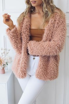 Esther Boutique, Stretch Fabric, Sleeve Styles, Hemline, Outfit Of The Day, Fur Coat, Pink, Casual, Sleeves