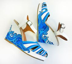 Summer Hand Painted Shoes/ Hand Painted Platform/ by PonkoWorld, $125.00