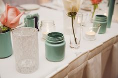 Mint, gold, and blush pink wedding decor.