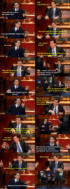 The original Franco vs. Colbert Tolkien showdown.  At least he tried to answer...I would love to meet Stephen Colbert simply because of his vast knowledge of all things Tolkien.