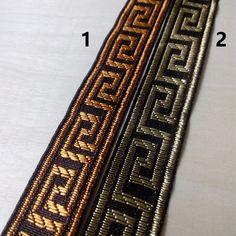 2.5cm 25mm 1' dark brown black golden greek key garment costume ethnic bedding curtain laciness national jacquard ribbon webbing