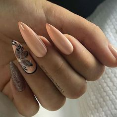 This article collects the most popular almond nails in the near future, including different patterns, colors, and fresh idea… Hot Nails, Nude Nails, Pink Nails, Hair And Nails, Hot Nail Designs, Pedicure Designs, Elegant Nails, Flower Nails, Nagel Gel