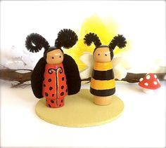 Bee and Ladybug Insect Wood Peg Dolls Play Set of 2 Ladybird Bugs Toy Peggies Little Peg People Miniatures Waldorf  Dollhouse Wasp Hive Cute