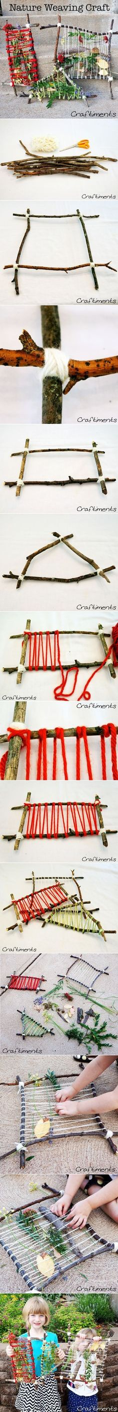 How to make DIY natural weaving loom, step by step tutorial / instructions Weben mit Naturmaterialien Projects For Kids, Diy For Kids, Crafts For Kids, Arts And Crafts, Theme Nature, Deco Nature, Best Summer Camps, Summer Fun, Weaving Projects